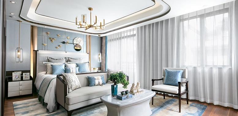杭州别墅装修设计中的新中式风格卧室装修